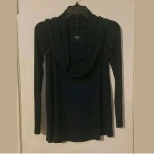 Three Dots Cowl neck long sleeve shirt blue sz XS
